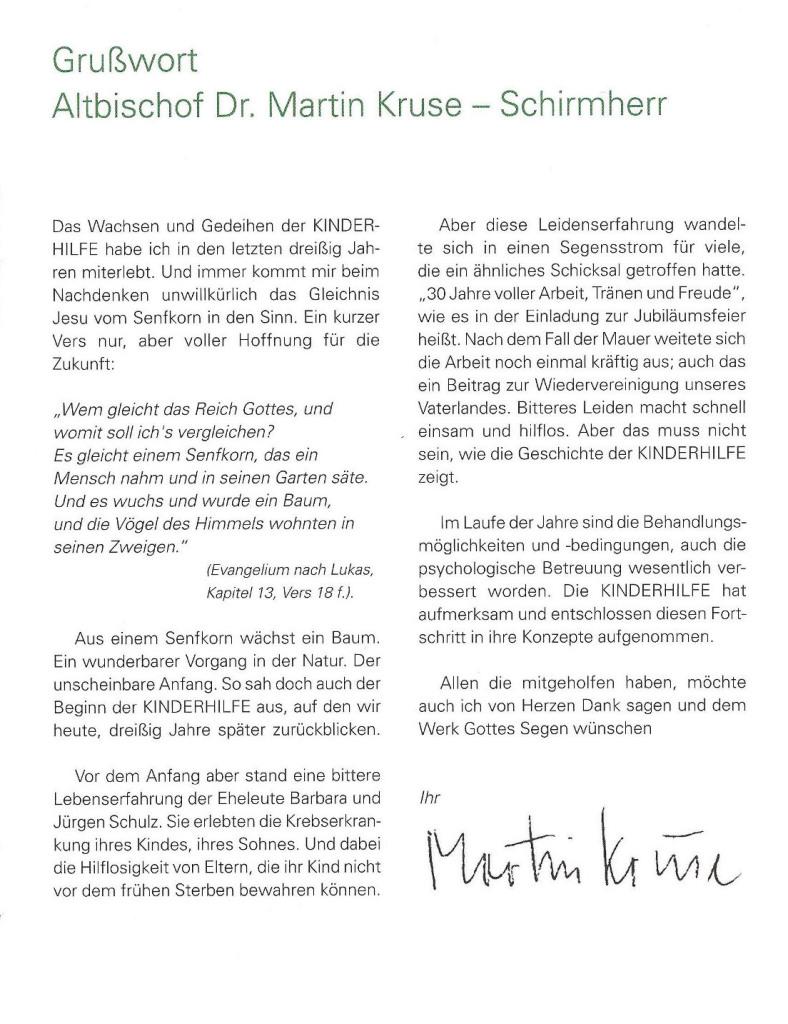 Altbischof Dr Martin Kruse Schirmherr